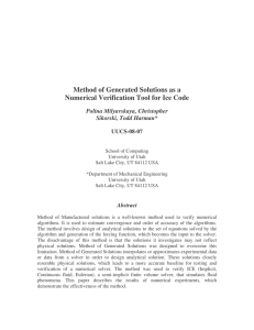 Method of Generated Solutions as a  Polina Milyavskaya, Christopher