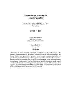 Natural image statistics for computer graphics Abstract Erik Reinhard, Peter Shirley and Tom