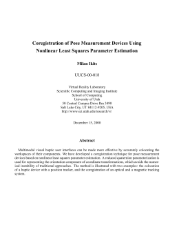 Coregistration of Pose Measurement Devices Using Nonlinear Least Squares Parameter Estimation UUCS-00-018