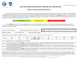 2015-2016 PROGRAM REVIEW REPORT BY DISCIPLINE EPCC LANGUAGE INSTITUTE