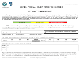 2015-2016 PROGRAM REVIEW REPORT BY DISCIPLINE AUTOMOTIVE TECHNOLOGY