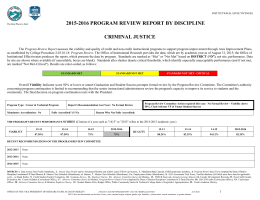 2015-2016 PROGRAM REVIEW REPORT BY DISCIPLINE CRIMINAL JUSTICE