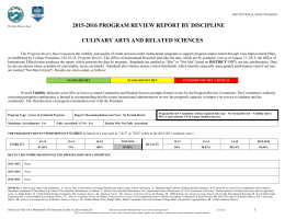 2015-2016 PROGRAM REVIEW REPORT BY DISCIPLINE CULINARY ARTS AND RELATED SCIENCES