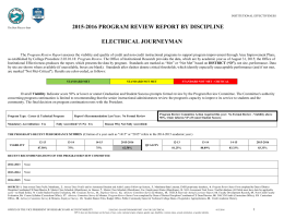 2015-2016 PROGRAM REVIEW REPORT BY DISCIPLINE ELECTRICAL JOURNEYMAN