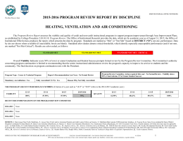 2015-2016 PROGRAM REVIEW REPORT BY DISCIPLINE HEATING, VENTILATION AND AIR CONDITIONING