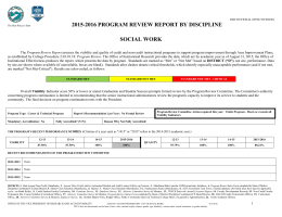 2015-2016 PROGRAM REVIEW REPORT BY DISCIPLINE SOCIAL WORK