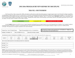 2015-2016 PROGRAM REVIEW REPORT BY DISCIPLINE TRAVEL AND TOURISM