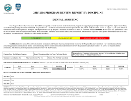 2015-2016 PROGRAM REVIEW REPORT BY DISCIPLINE DENTAL ASSISTING