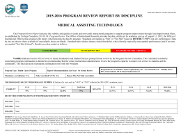 2015-2016 PROGRAM REVIEW REPORT BY DISCIPLINE MEDICAL ASSISTING TECHNOLOGY