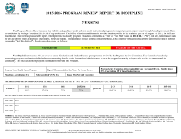 2015-2016 PROGRAM REVIEW REPORT BY DISCIPLINE NURSING