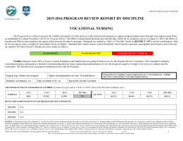 2015-2016 PROGRAM REVIEW REPORT BY DISCIPLINE  VOCATIONAL NURSING