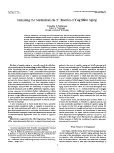 Initiating the Formalization of Theories of Cognitive Aging Timothy A. Salthouse