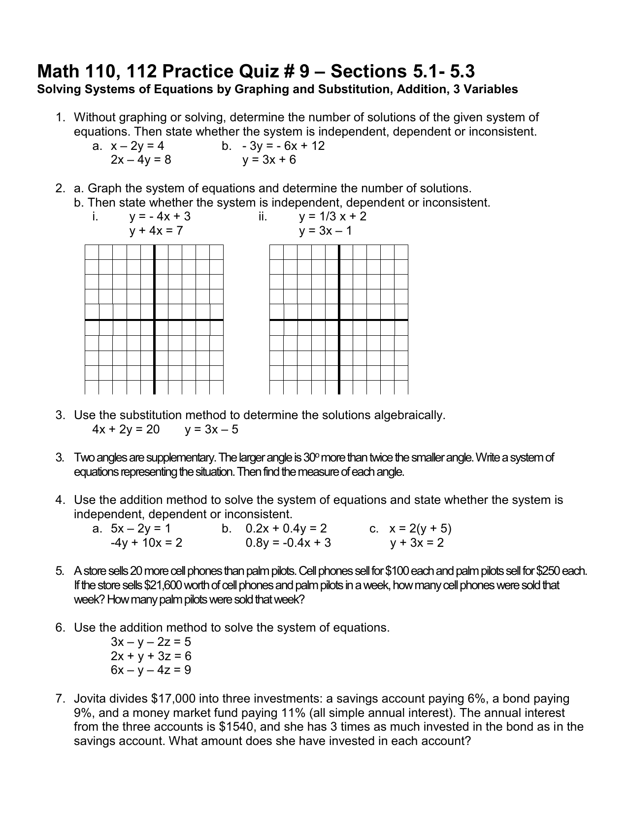 Sections 5 1 5 3 Math 110 112 Practice Quiz 9
