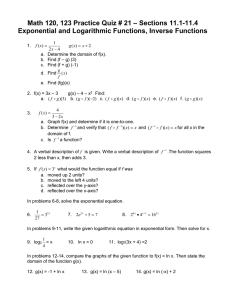– Sections 11.1-11.4 Math 120, 123 Practice Quiz # 21