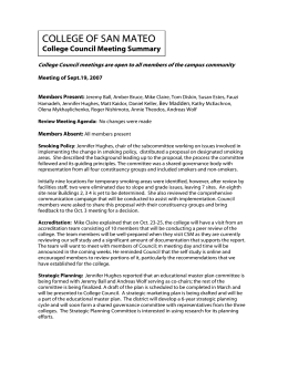 COLLEGE OF SAN MATEO  College Council Meeting Summary