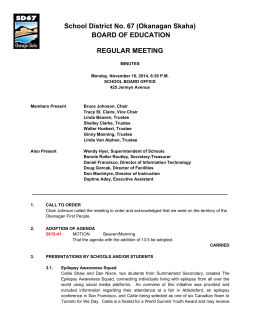 School District No. 67 (Okanagan Skaha) BOARD OF EDUCATION REGULAR MEETING