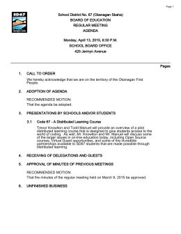 School District No. 67 (Okanagan Skaha) BOARD OF EDUCATION REGULAR MEETING AGENDA