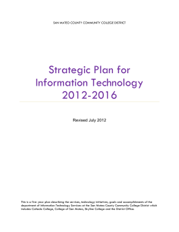 Strategic Plan for Information Technology 2012-2016