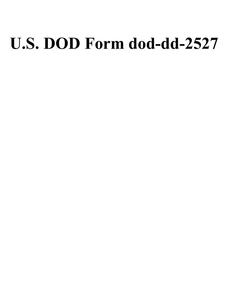U S Dod Form Dod Dd 2527
