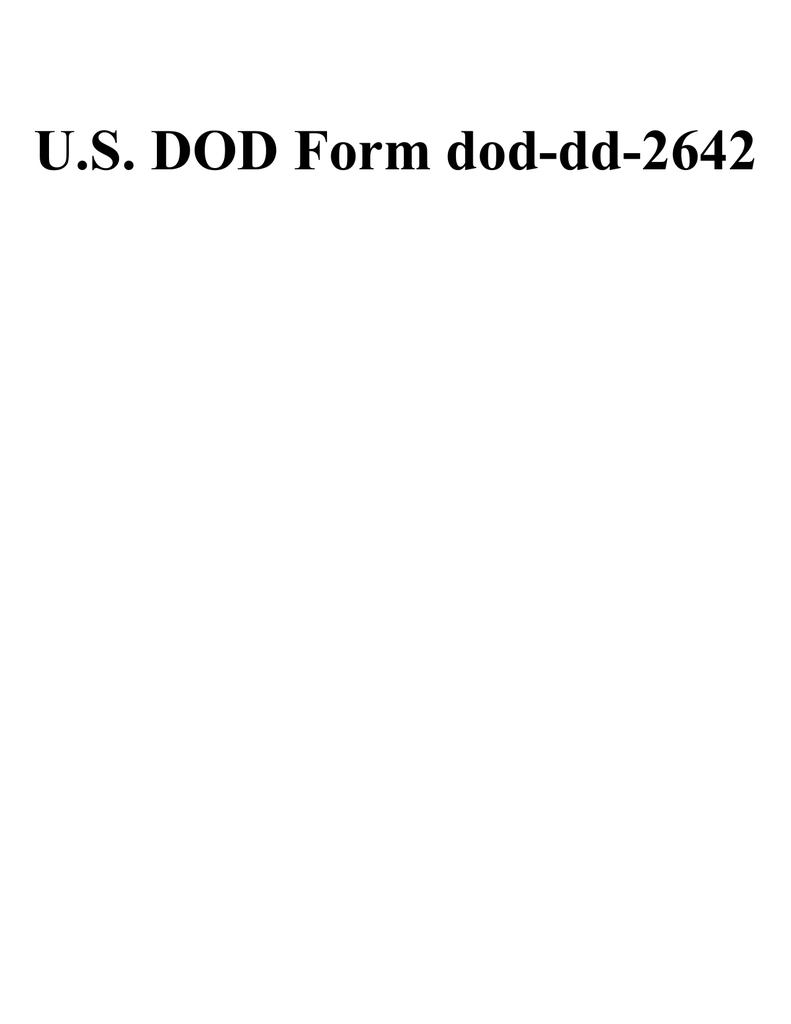 U S Dod Form Dod Dd 2642