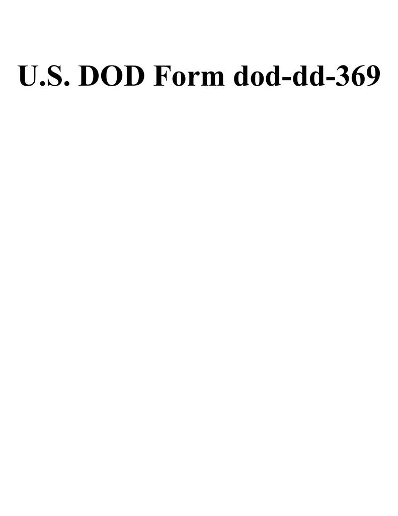 U S Dod Form Dod Dd 369