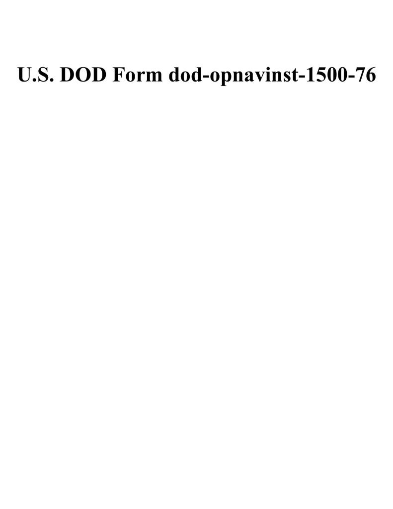 Us Dod Form Dod Opnavinst 1500 76