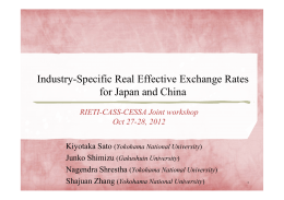 Industry-Specific Real Effective Exchange Rates for Japan and China Kiyotaka Sato Junko Shimizu
