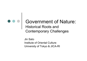 Government of Nature: Historical Roots and Contemporary Challenges Jin Sato