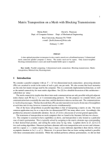 Matrix Transposition on a Mesh with Blocking Transmissions
