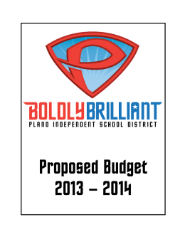 Proposed Budget 2013 – 2014