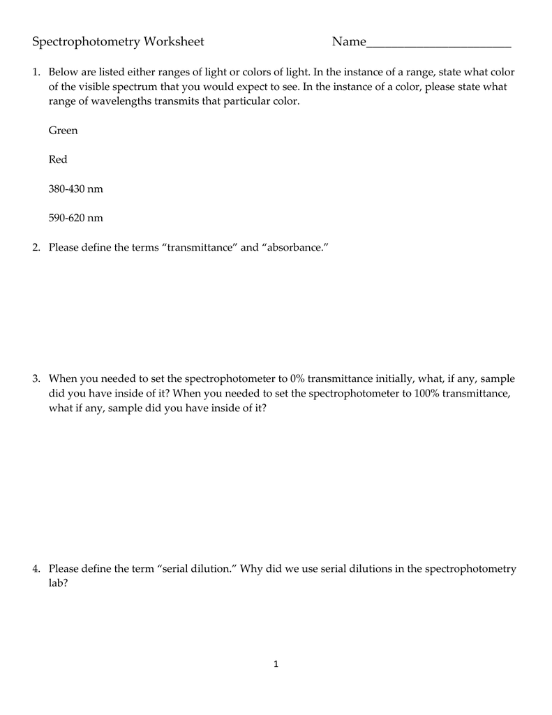 worksheet Light And Color Worksheet spectrophotometry worksheet name