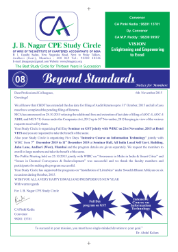 J. B. Nagar CPE Study Circle Enlightening and Empowering to Excel