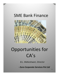 Opportunities for CA's SME Bank Finance