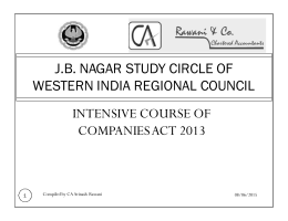 J.B. NAGAR STUDY CIRCLE OF WESTERN INDIA REGIONAL COUNCIL INTENSIVE COURSE OF