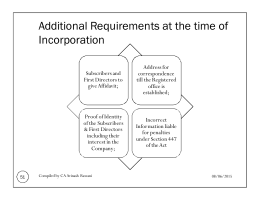 Additional Requirements at the time of Incorporation