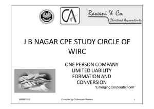 J B NAGAR CPE STUDY CIRCLE OF WIRC ONE PERSON COMPANY LIMITED LIABILITY