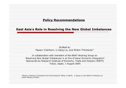 Policy Recommendations East Asia's Role in Resolving the New Global Imbalances