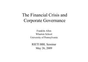 The Financial Crisis and Corporate Governance RIETI BBL Seminar May 26, 2009