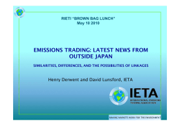 "EMISSIONS TRADING: LATEST NEWS FROM OUTSIDE JAPAN RIETI ""BROWN BAG LUNCH"""