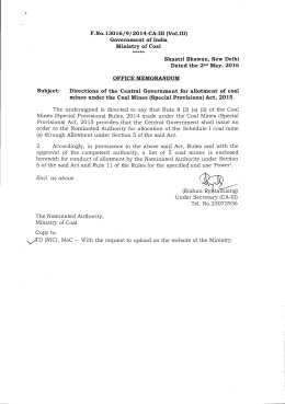 F.No.13016/9/2014-CA-III (Vol.III) Government of India Ministry of Coal *****