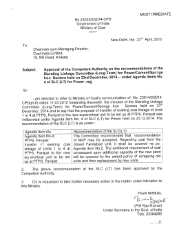 MOST IMMEDIATE No.23025/5/2014-CPD Government of India Ministry of Coal