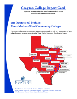 Grayson College Report Card 2013 Institutional Profiles: Texas Medium-Sized Community Colleges