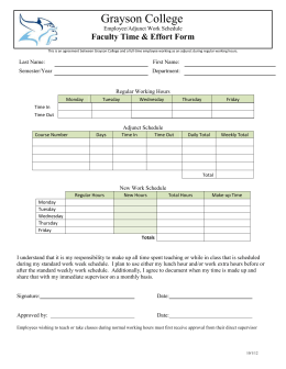 Grayson College Faculty Time & Effort Form Employee/Adjunct Work Schedule