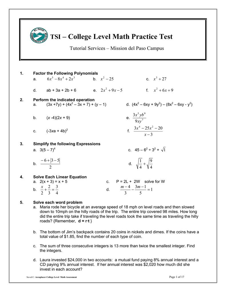 College Level Math Practice Test TSI