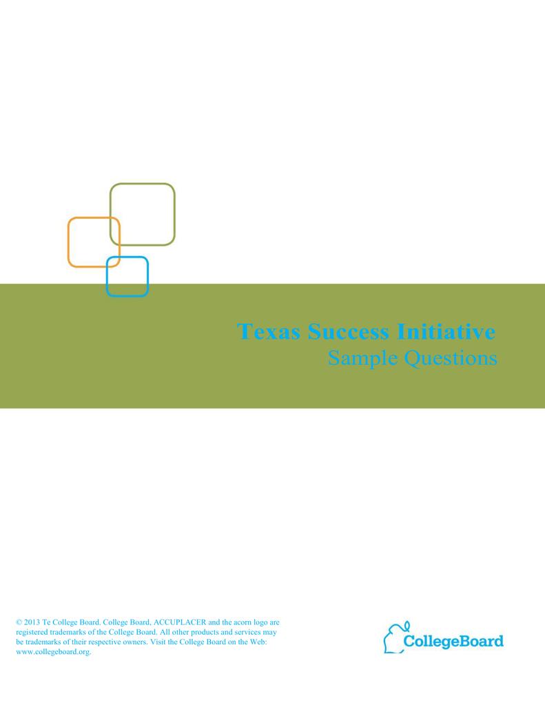 Texas Success Initiative Sample Questions