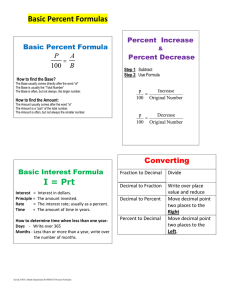 Basic Percent Formulas   Basic Percent Formula P