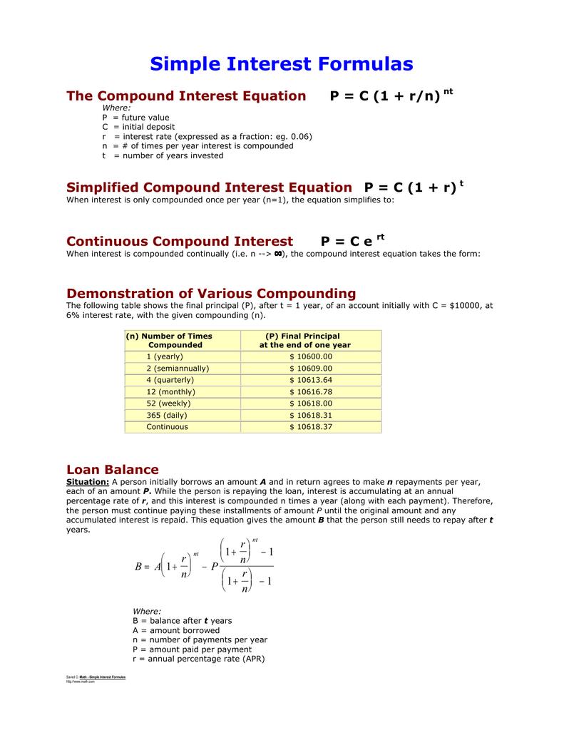 simple interest formulas the compound interest equation