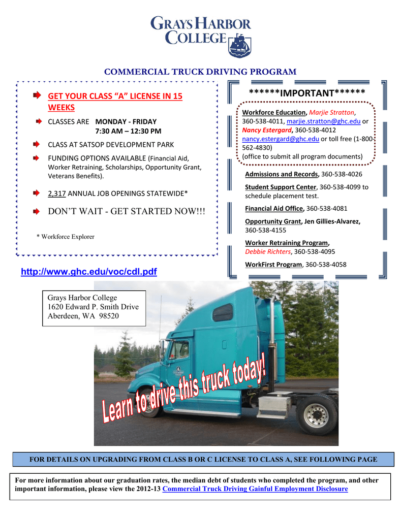 IMPORTANT****** COMMERCIAL TRUCK DRIVING PROGRAM GET YOUR