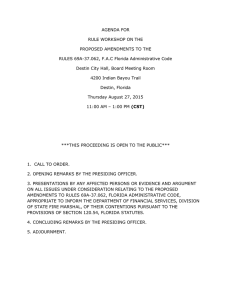 AGENDA FOR RULE WORKSHOP ON THE PROPOSED AMENDMENTS TO THE