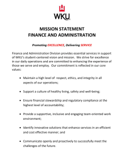 MISSION STATEMENT FINANCE AND ADMINISTRATION